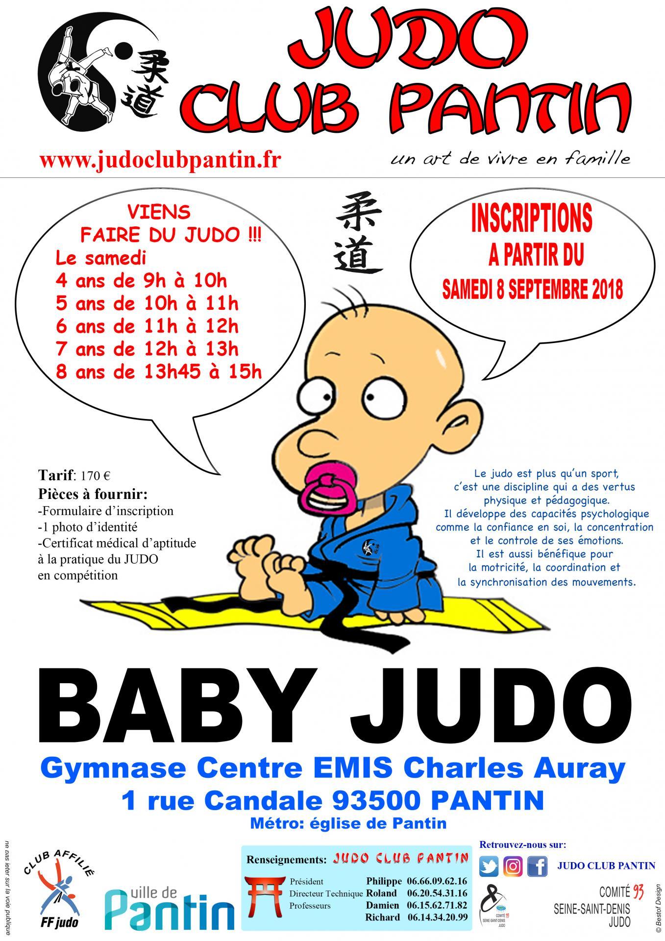 recto AFFICHE A4 BABY JUDO CENTRE EMIS 2018-2019