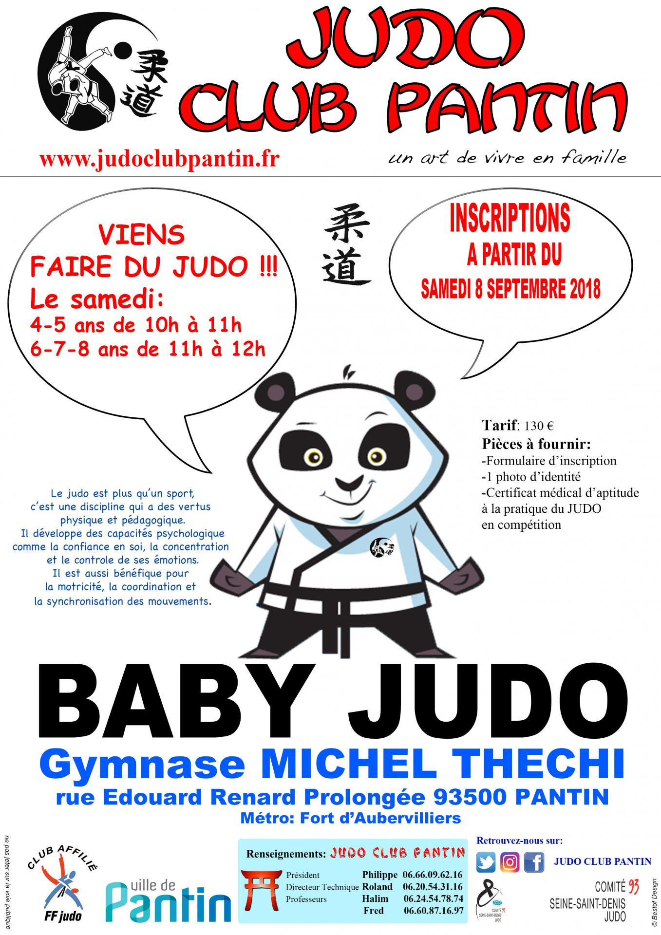 recto AFFICHE A4 BABY JUDO THECHI 2018-2019