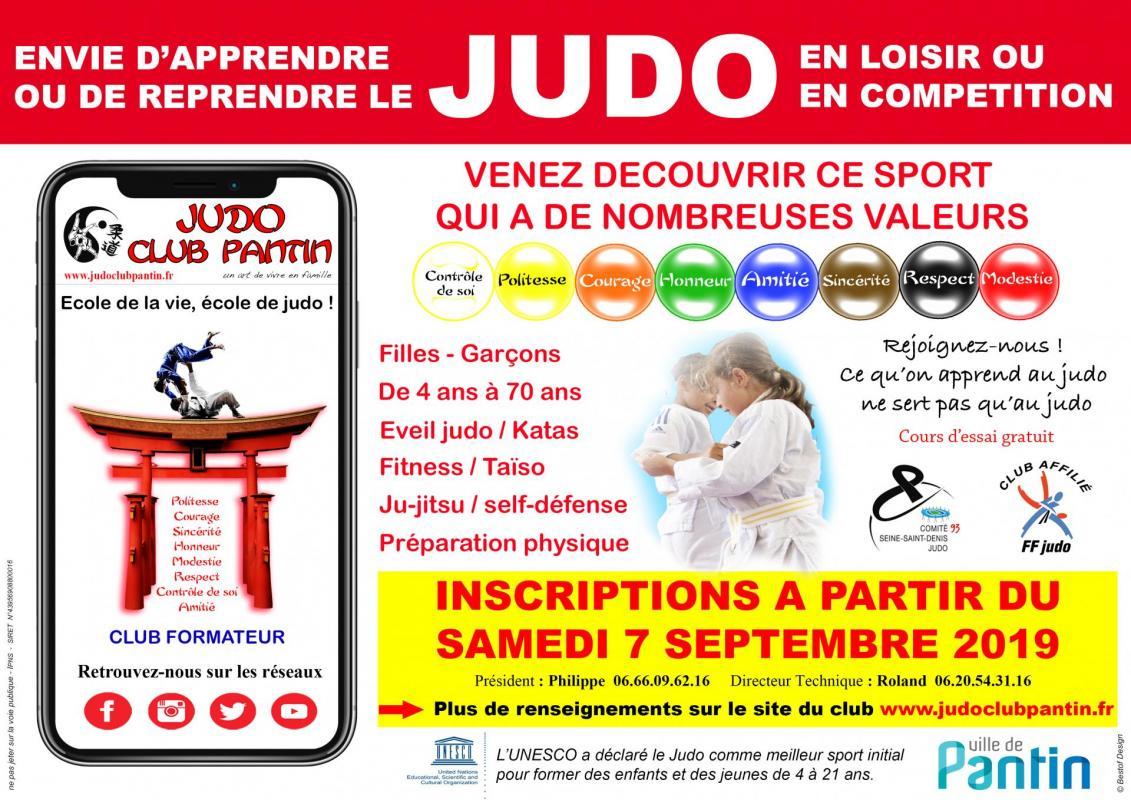 Affiche 1 publicitaire a4 judo club pantin 2019 2022