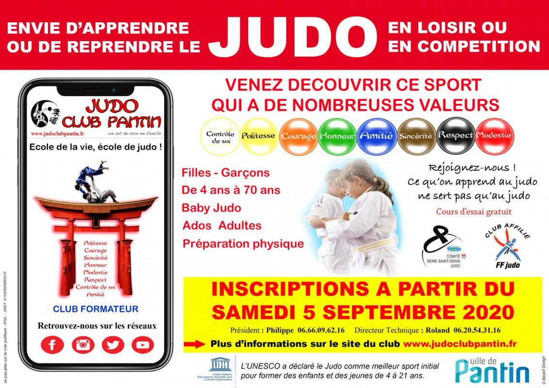 Affiche publicitaire a4 judo club pantin 2020 2021
