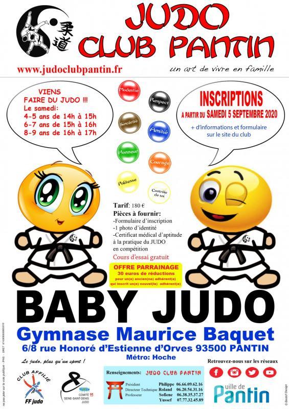 Recto affiche a4 baby judo baquet 2020 2021