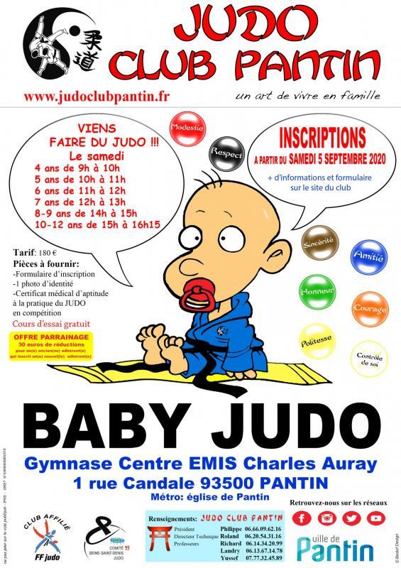 Recto affiche a4 baby judo centre emis 2020 2021