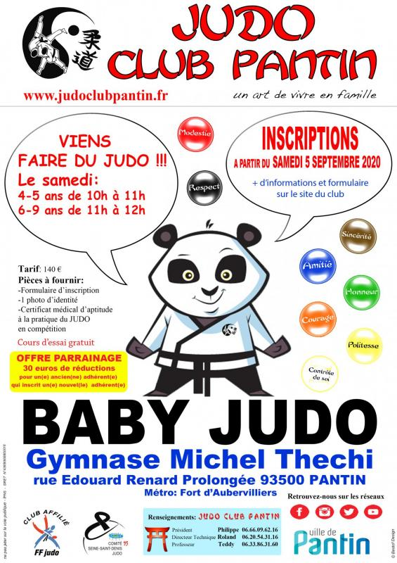Recto affiche a4 baby judo thechi 2020 2021