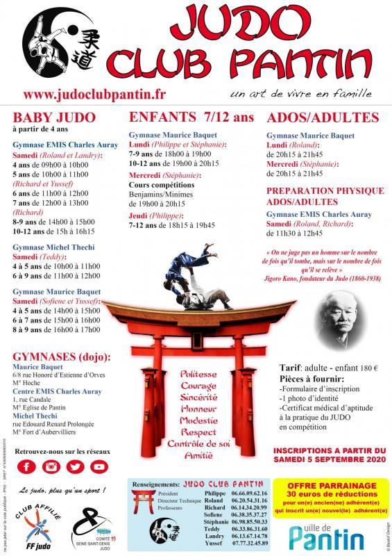 Recto affiche a4 judo club pantin 2020 2021